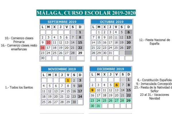 Calendario Escolar 2020 Andalucia.Calendario Escolar 2019 2020 En Malaga Celebrando Es