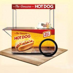 Carrito de perritos calientes para fiestas.
