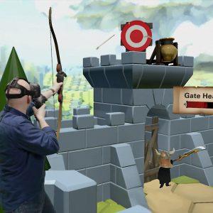 Hombre jugando a realidad virtual.