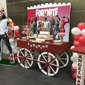 Mesa dulce para comunión de Fortnite.