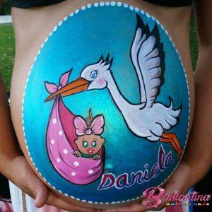 Belly Painting de cigüeña.