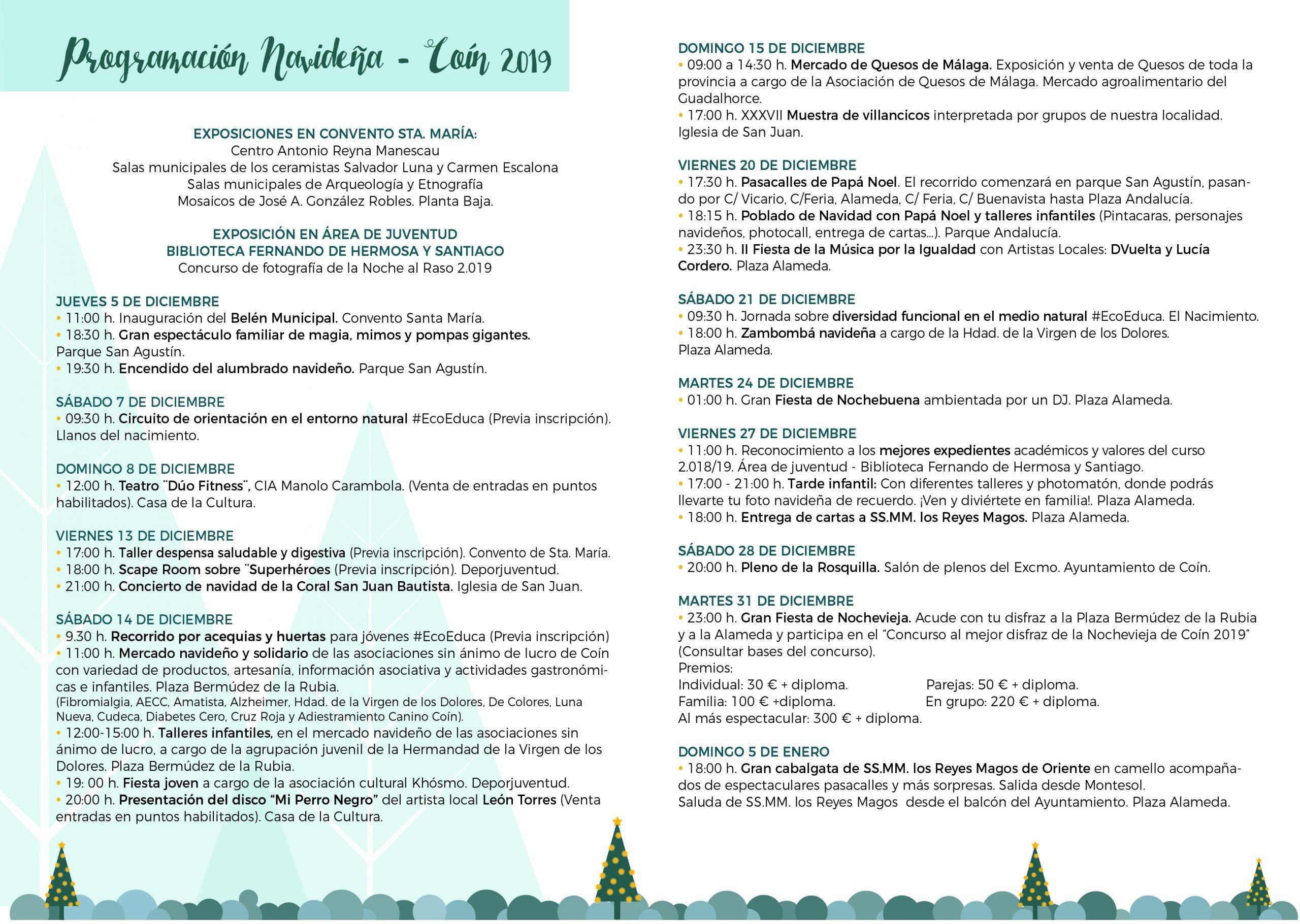 Programa de actividades navideñas en Coín 2019/2020.