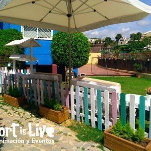 Jardín para fiestas en aire libre.